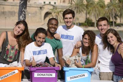 group of diverse volunteers smiling