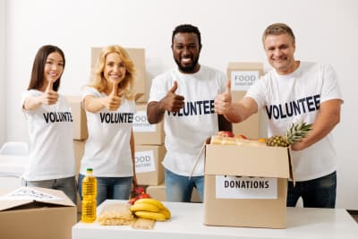 charity team working together